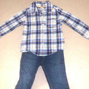 🌼3/$15! Little boy outfit BUTTON DOWN & jeans 24m